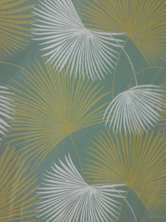 Palm Upholstery Fabric Aqua Green White Tropical Fabric By