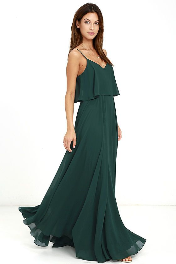 781425839c3 We re absolutely love struck over the Love Runs High Forest Green Maxi Dress!  Forest green woven poly falls from adjustable straps into a tiered