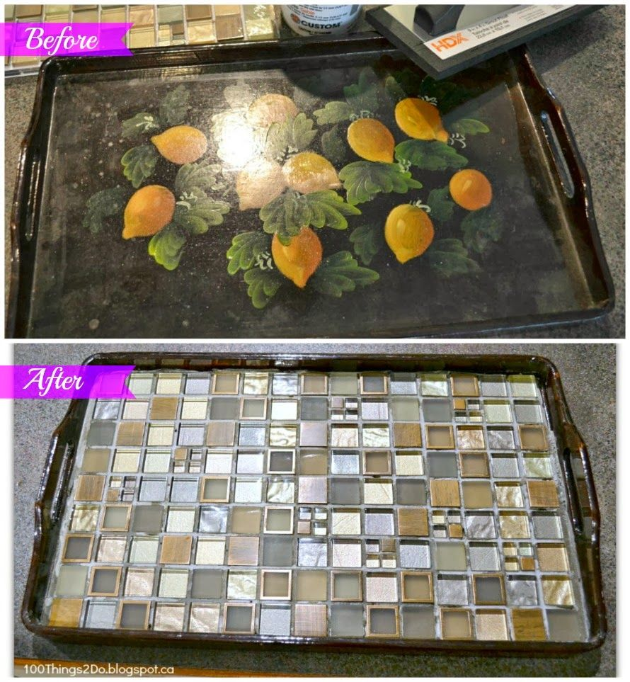 Before and After - Tiled Tray. Serving tray makeover. DIY tray.