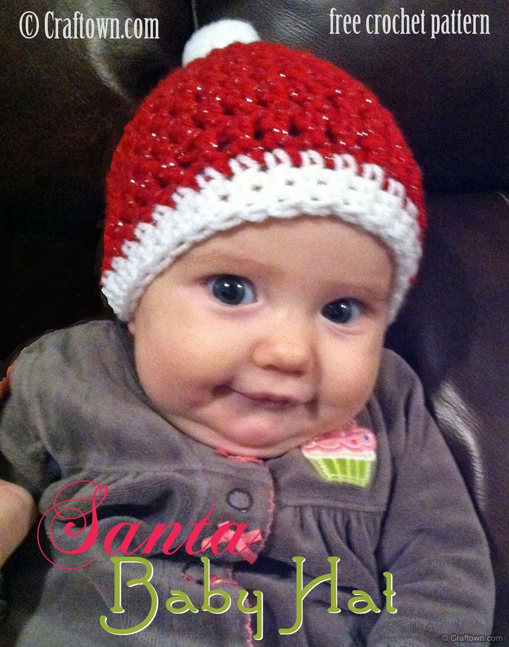 Free Crochet Pattern - Santa Baby Hat, what a cute little elf ...