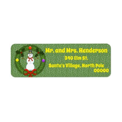 Snowman in Wreath Return Address Labels Return address - Return Address Label Template