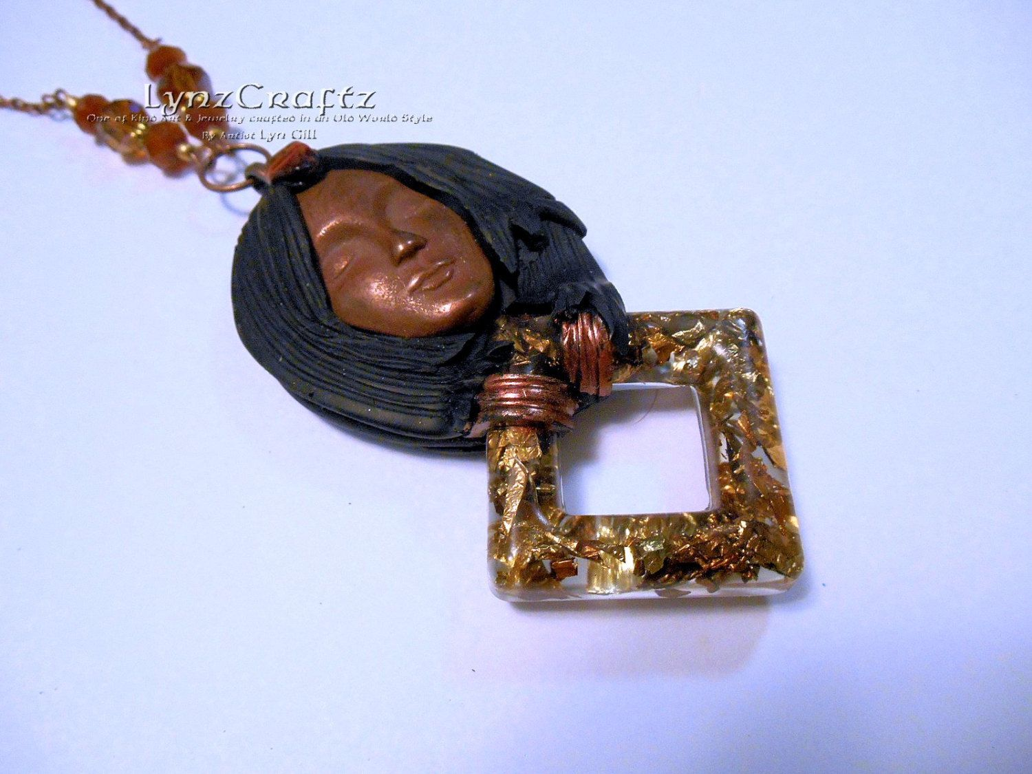 Spirit of Copper black and copper polymer clay & resin jewelry pendant necklace handmade One of a Kind by LynzCraftz on Etsy