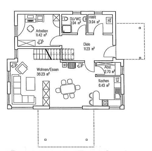 Grundriss erdgeschoss fingerhut haus p for Modernes einfamilienhaus grundriss
