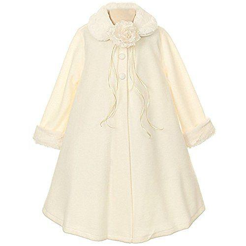 Bcbg Sweater With Faux Fur Cuffs: Little Girls Gorgeous Ivory Fleece Faux Fur Collar Cuff C