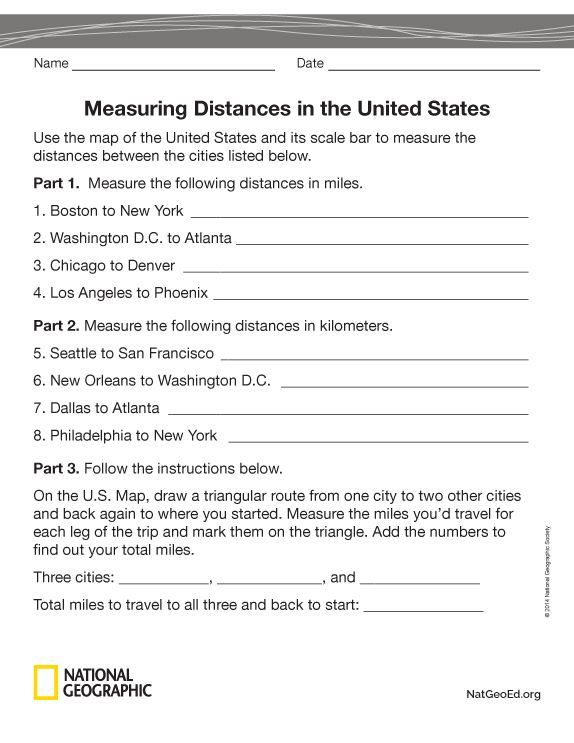 Measuring Distances On A Map National Geographic Society School