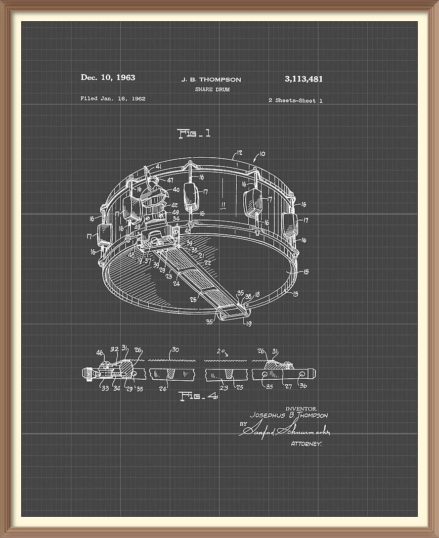 Vintage snare drum patent print 1963 set on a vintage grey vintage snare drum patent print 1963 set on a vintage grey blueprint paper background instant malvernweather Image collections