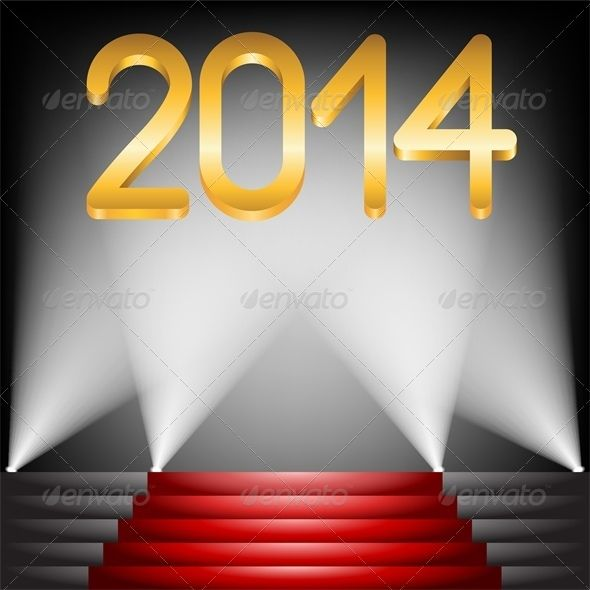Best 2014 Year Golden Figures On Red Carpet Stairs Carpet 400 x 300