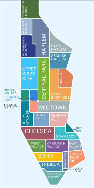 Map Of New York Neighborhoods Manhattan.Manhattan Broken Down City New York Travel Map Of New York York