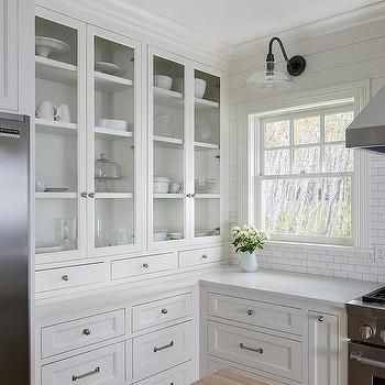 Built In Glass Front Kitchen Hutch  Kitchen  Pinterest Beauteous White Kitchen Hutch Decorating Inspiration