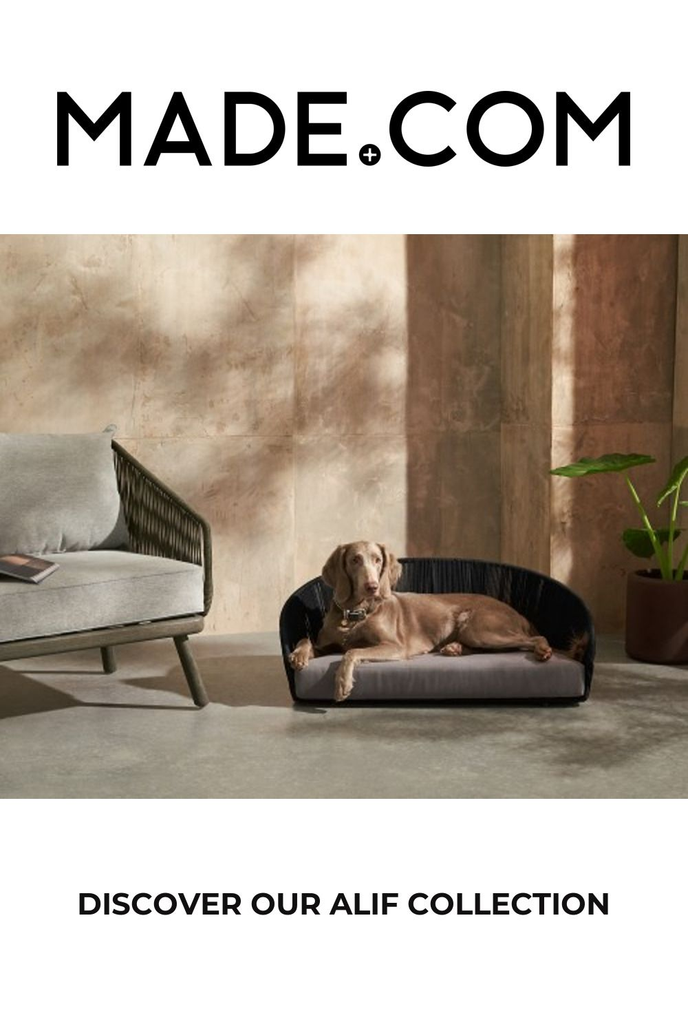 Alif Large Woven Pet Bed, Black & Grey