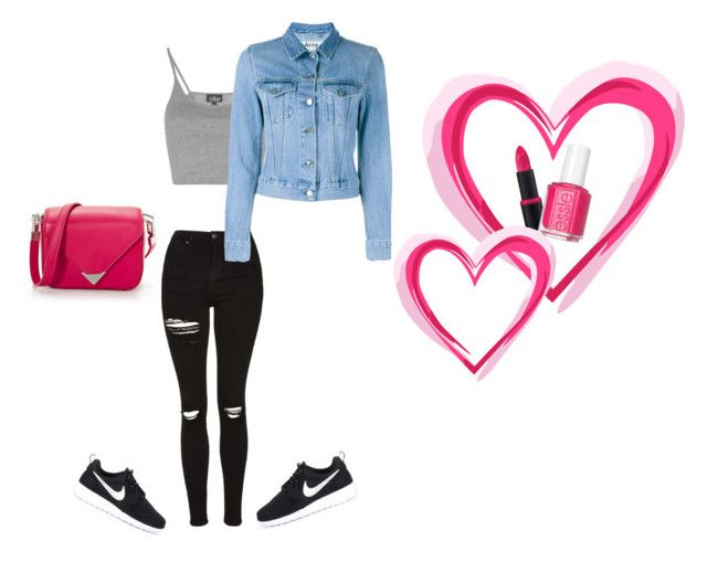 """""""pink accent"""" by misell28 on Polyvore featuring Topshop, Acne Studios, NIKE, Alexander Wang, Essence and Essie"""