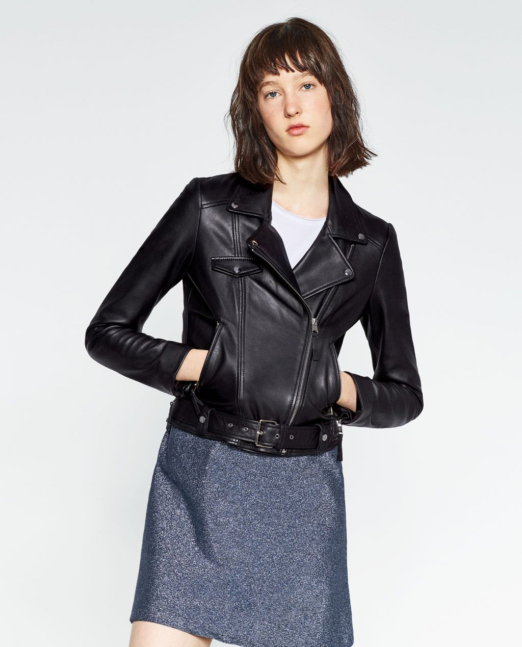 Basic Leather Jacket Outerwear Woman Collection Aw16 Leather Jacket Jackets Outerwear Women [ 1269 x 1024 Pixel ]