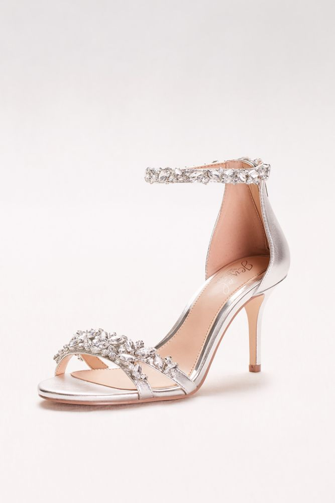 Crystal Embellished Metallic Ankle Strap Heels | Bridesmaids