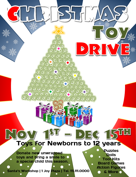 Toy Drive Flyer : Download this free christmas toy drive flyer template for