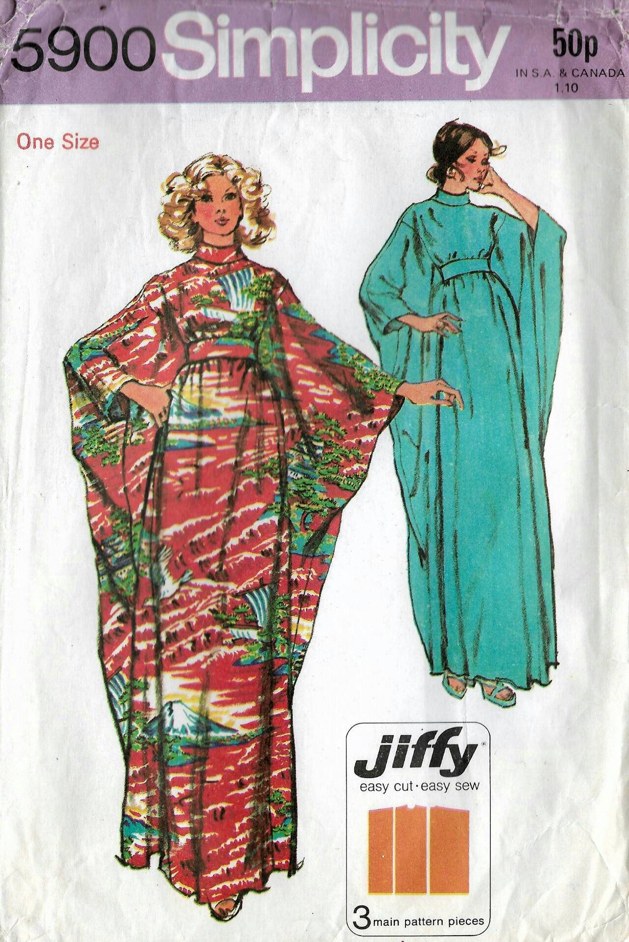 70s Simplicity caftan dress, sewing pattern 5900, Bust 32.5-38 ...