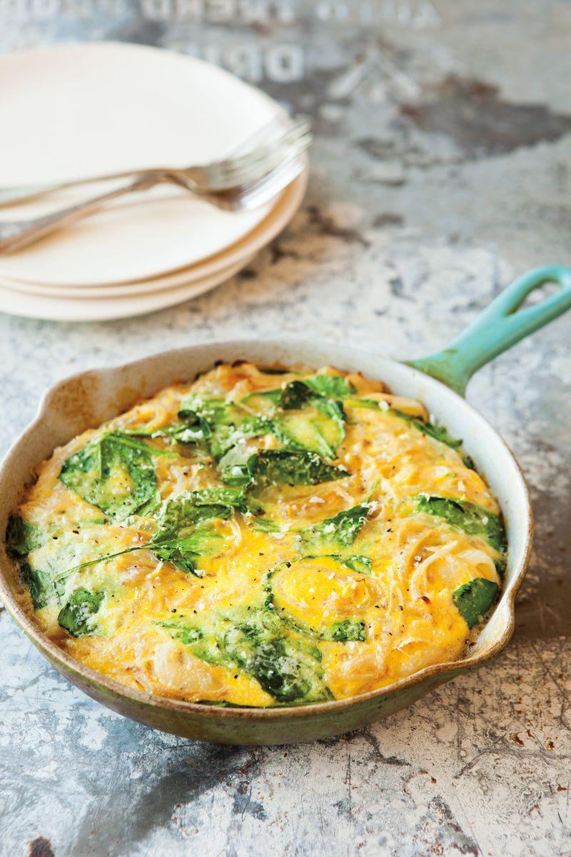 Garlicky spinach & parmesan frittata