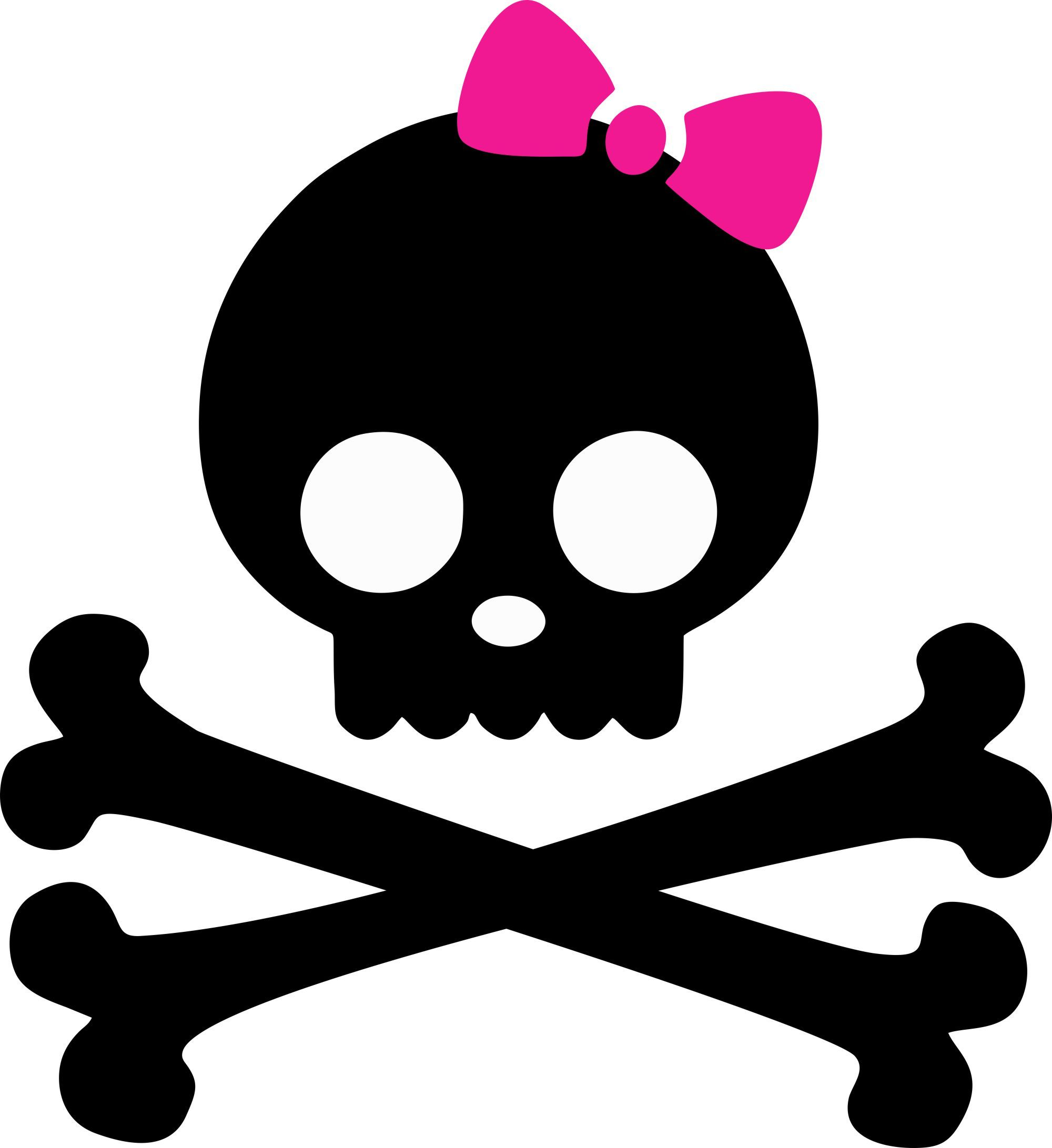 Skulls And Bones Iron On With Pink Bow Baby N Toddler Clipart Best Clipart Best Pink Skull Wallpaper Girly Skull Tattoos Girly Graphics