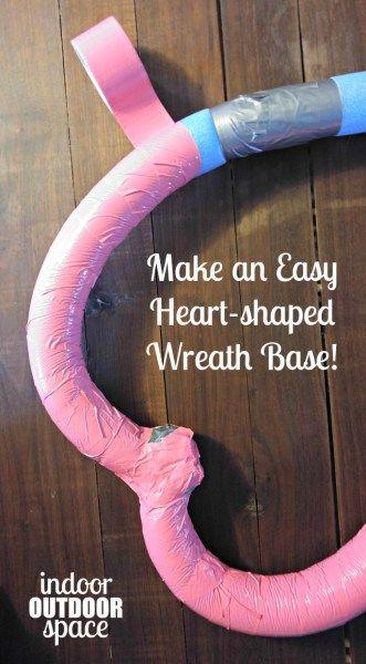 How to Make a Pool Noodle Heart Shape Wreath #poolnoodlewreath
