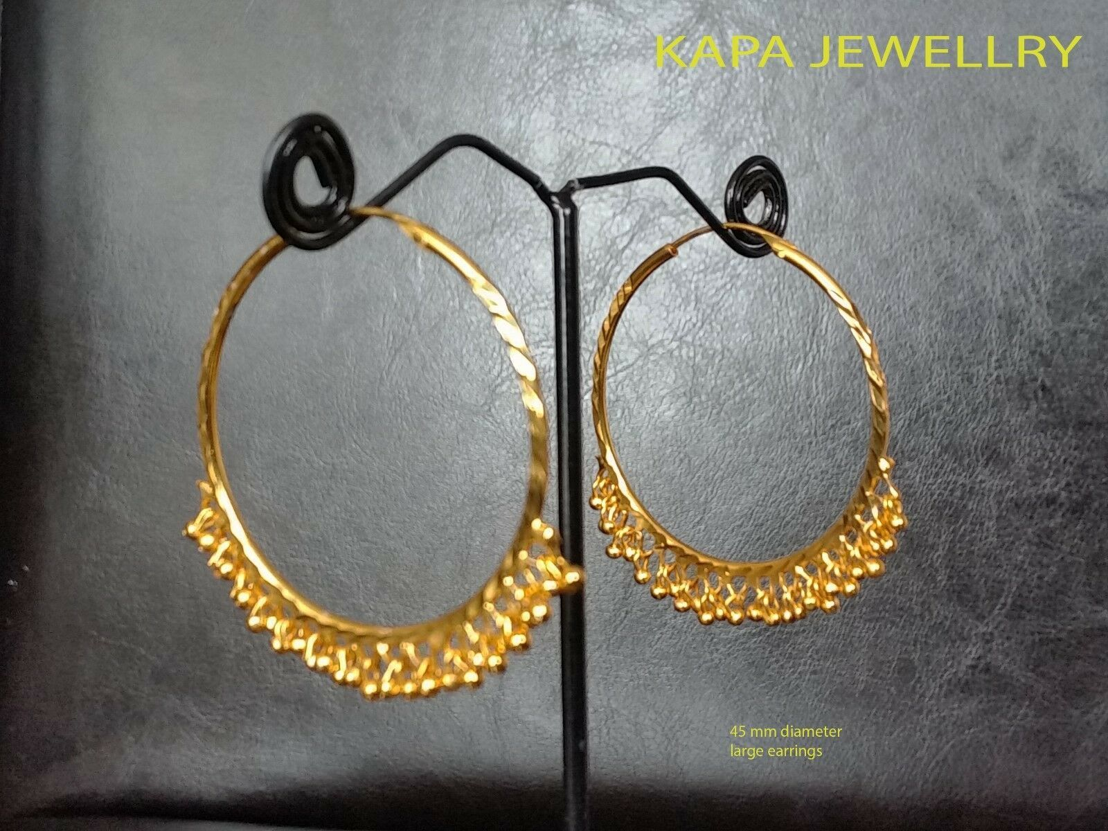Latest Indian Round Shape Design Solid 22K Yellow Fine Gold Plain Hoop Earrings