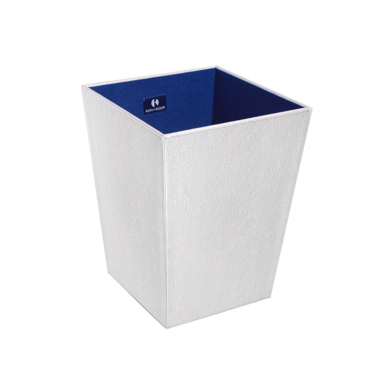 WS Bath Collections Perle 2503SV Leather Waste Basket in White From ...