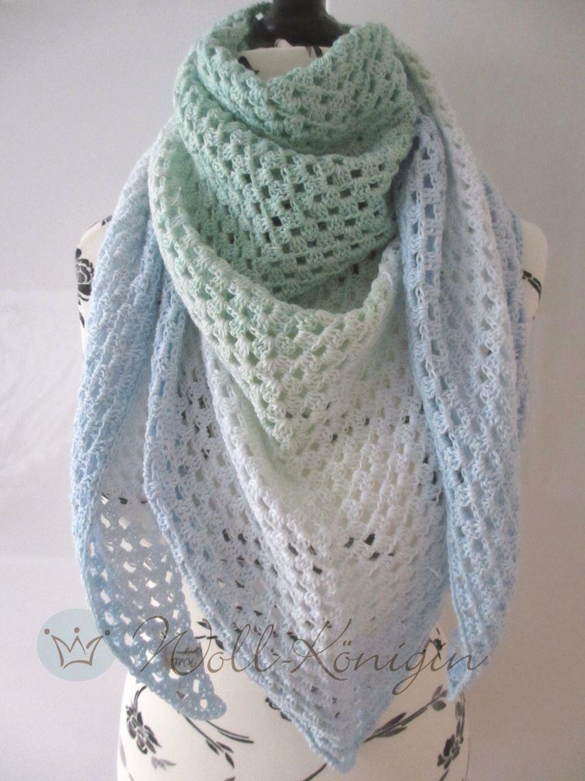 Häkeltuch Eisblume im Half Granny Muster | Crochet / Häkeln ...