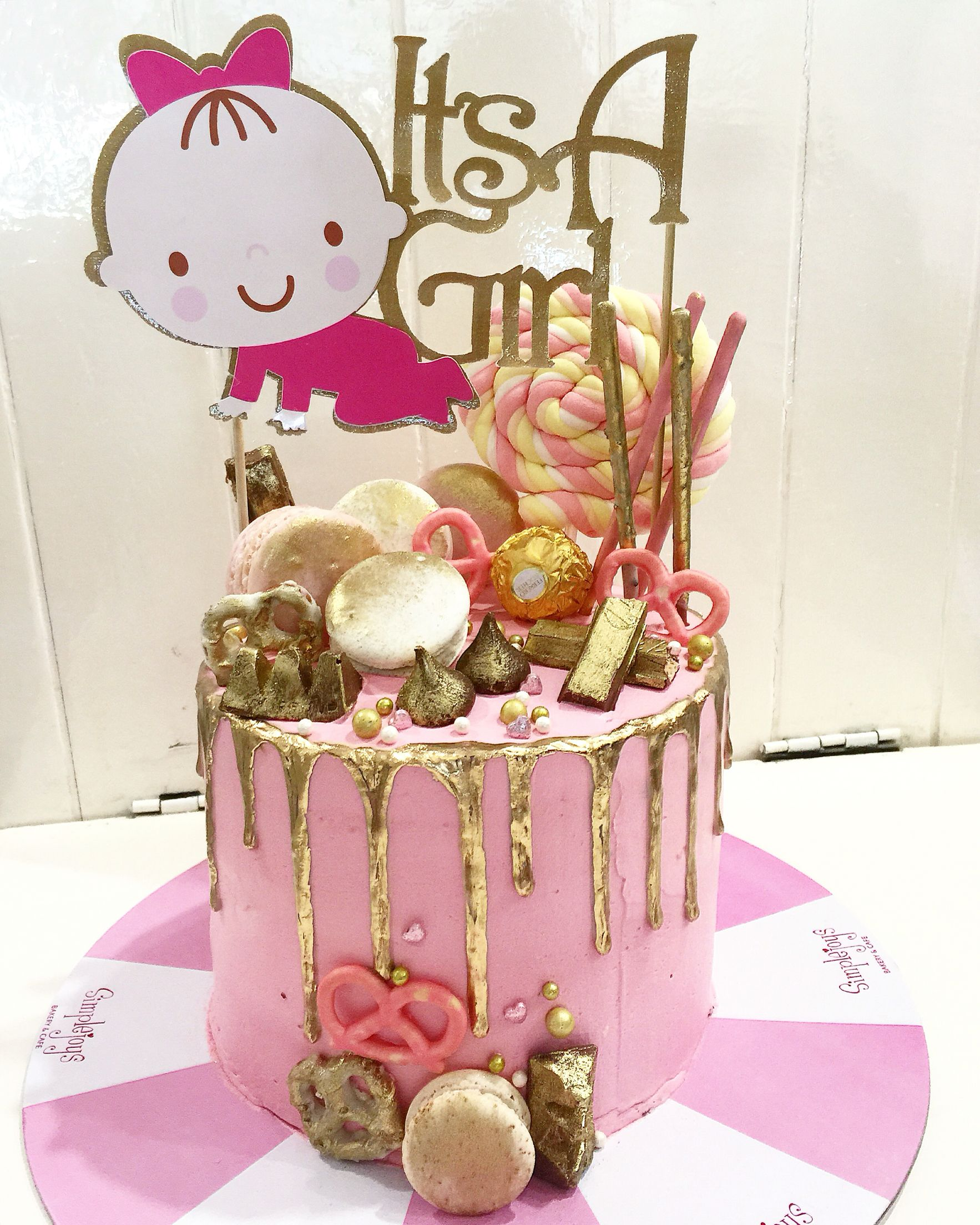 Congratulations It s a baby girl chocolate cake with pink
