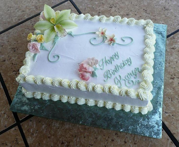 X13 Sheet Cake With Non Dairy Whipped Icing And Sugar Paste Flowers