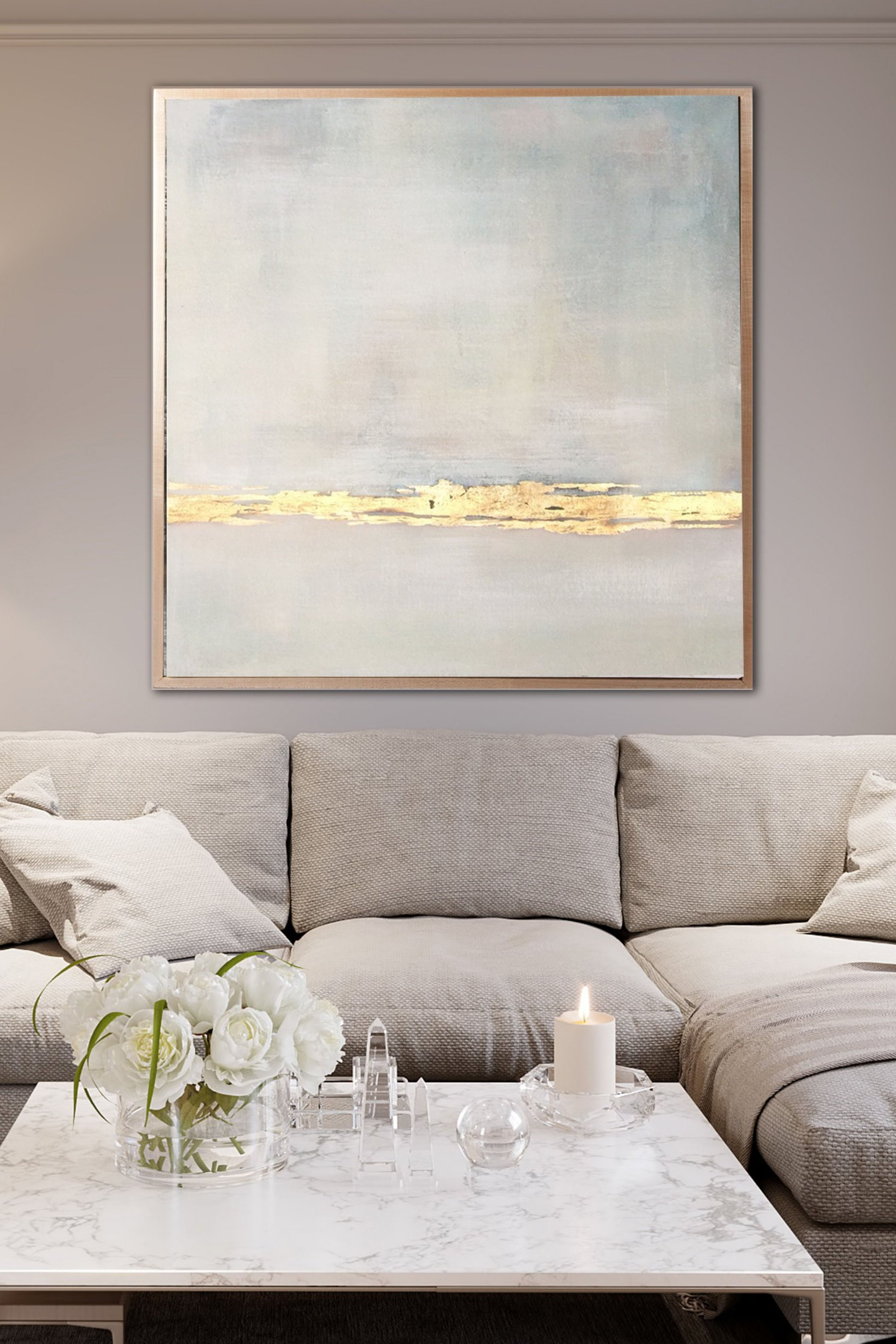 large acrylic painting beige abstract painting gold on modern acrylic paintings for living room id=23452