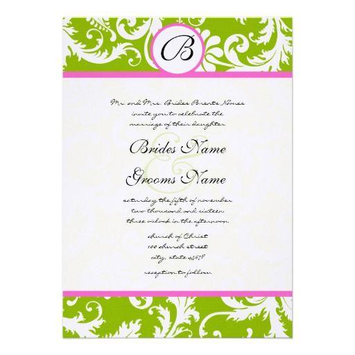 Greenery  Pink Yarrow Damask Wedding Invitation Zazzle Pink