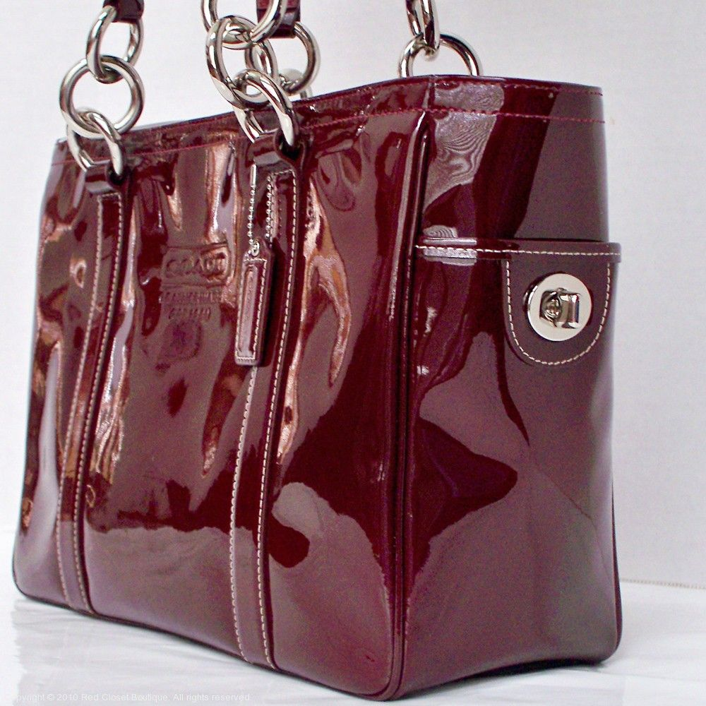 Coach Red Patent Leather Tote