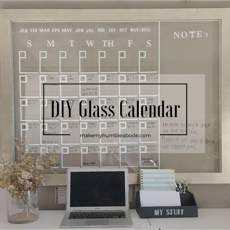 DIY Glass Calendar Budgeting, Glass and Décor crafts