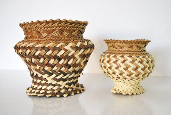 Outstanding Pair of Vintage Tarahumara Double Weave Native American Vase Shaped Baskets
