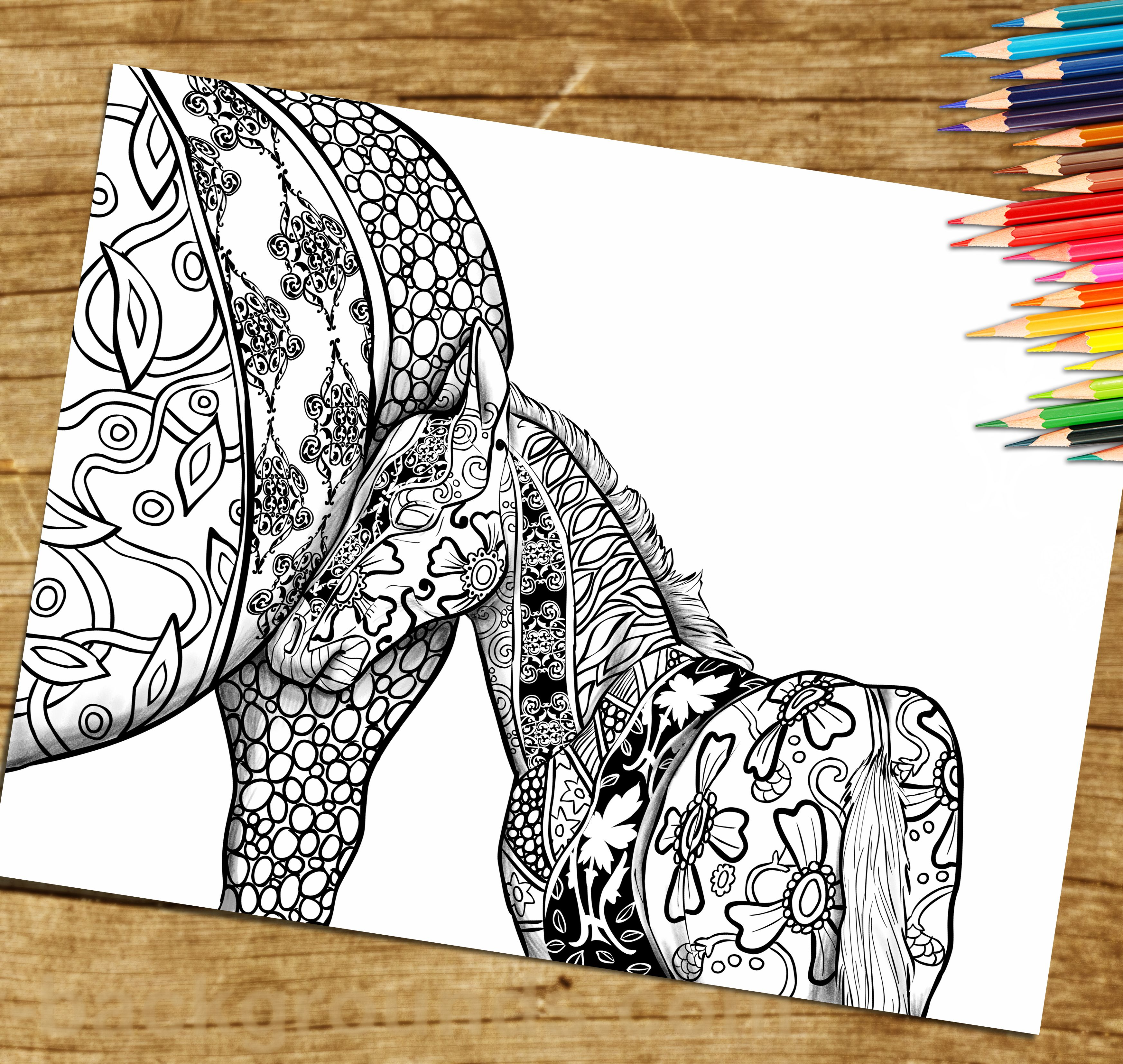 Adult Coloring Book, Page from Coloring Book For Adults, Horse ...