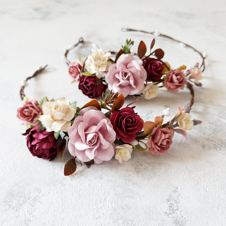 Bridal burgundy dusty rose headpiece dusty rose burgundy