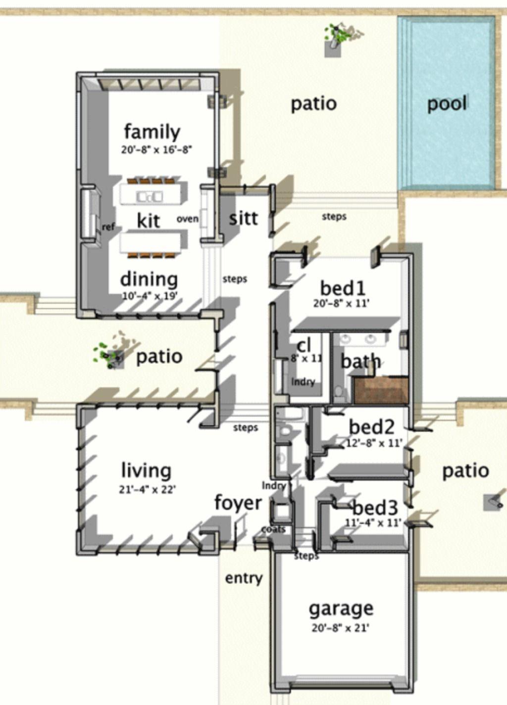 planos de casas 3 habitaciones 1 planta