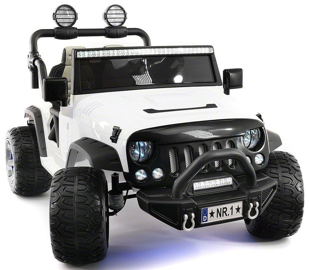 White Truck Jeep Ride On Car 12V Two Seater Battery
