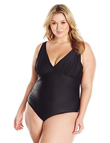 24673a0e48795 Coastal Blue Women s Plus Size Swimwear Shirred V-Neck One Piece Swimsuit  at Amazon Women s Clothing store