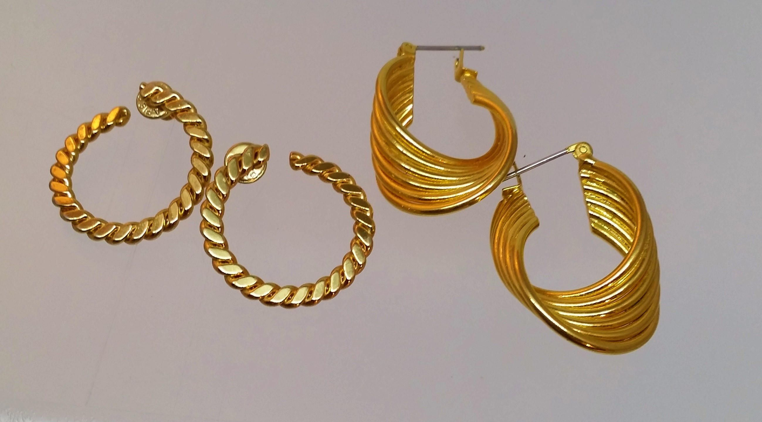 Napier Gold Hoop Earrings 2 Vintage Twisted Pierced Post Costume Jewelry Gifts