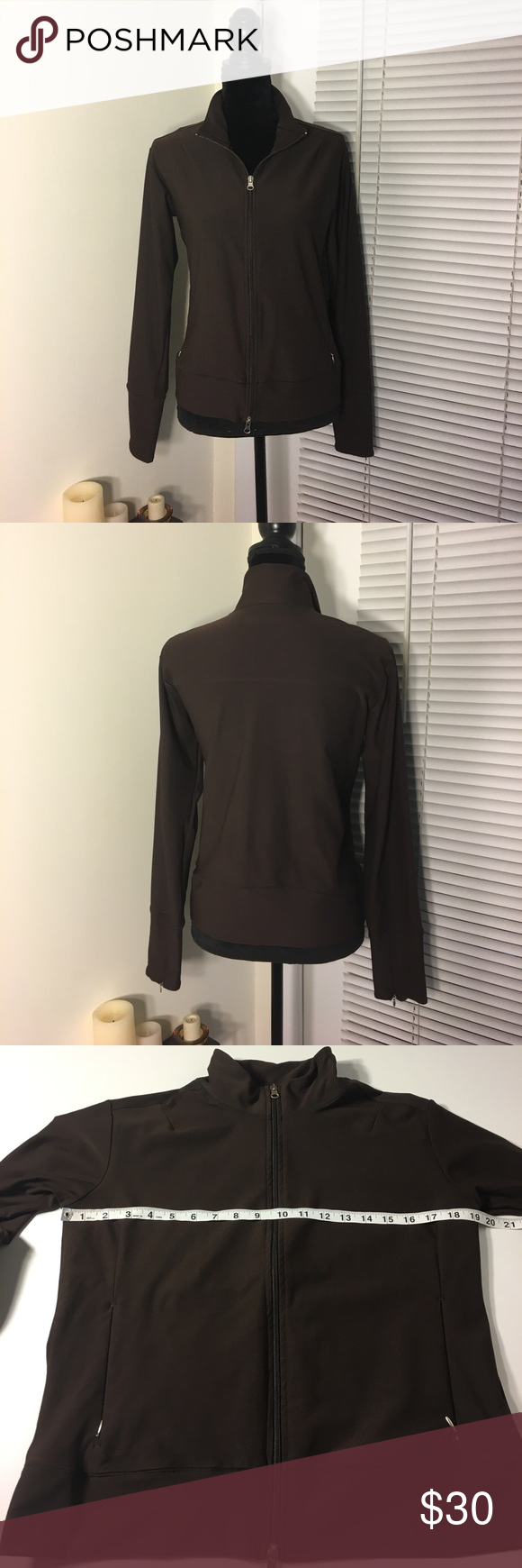 Lucy full zip jacket Micropoly full zip sweatshirt/jacket from Lucy. Rich chocolate brown color with mock neck style. Double front zipper, and zippers on the sleeves to vent. Two zip close front pockets. Lucy Tops Sweatshirts & Hoodies