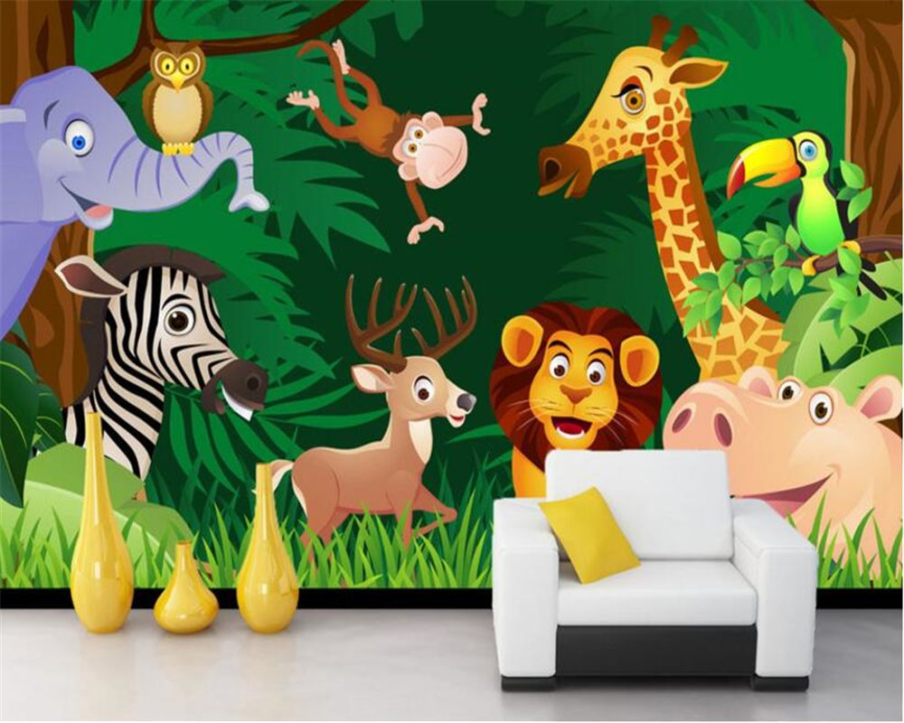 Beibehang Custom 3D wallpaper cartoon forest animal lion