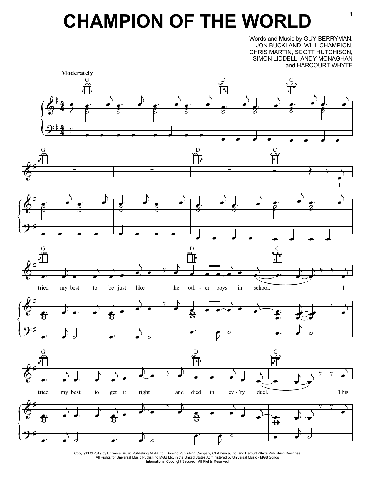 Coldplay Champion Of The World Sheet Music Notes Chords Score Download Printable Pdf Sheet Music Notes Sheet Music Coldplay