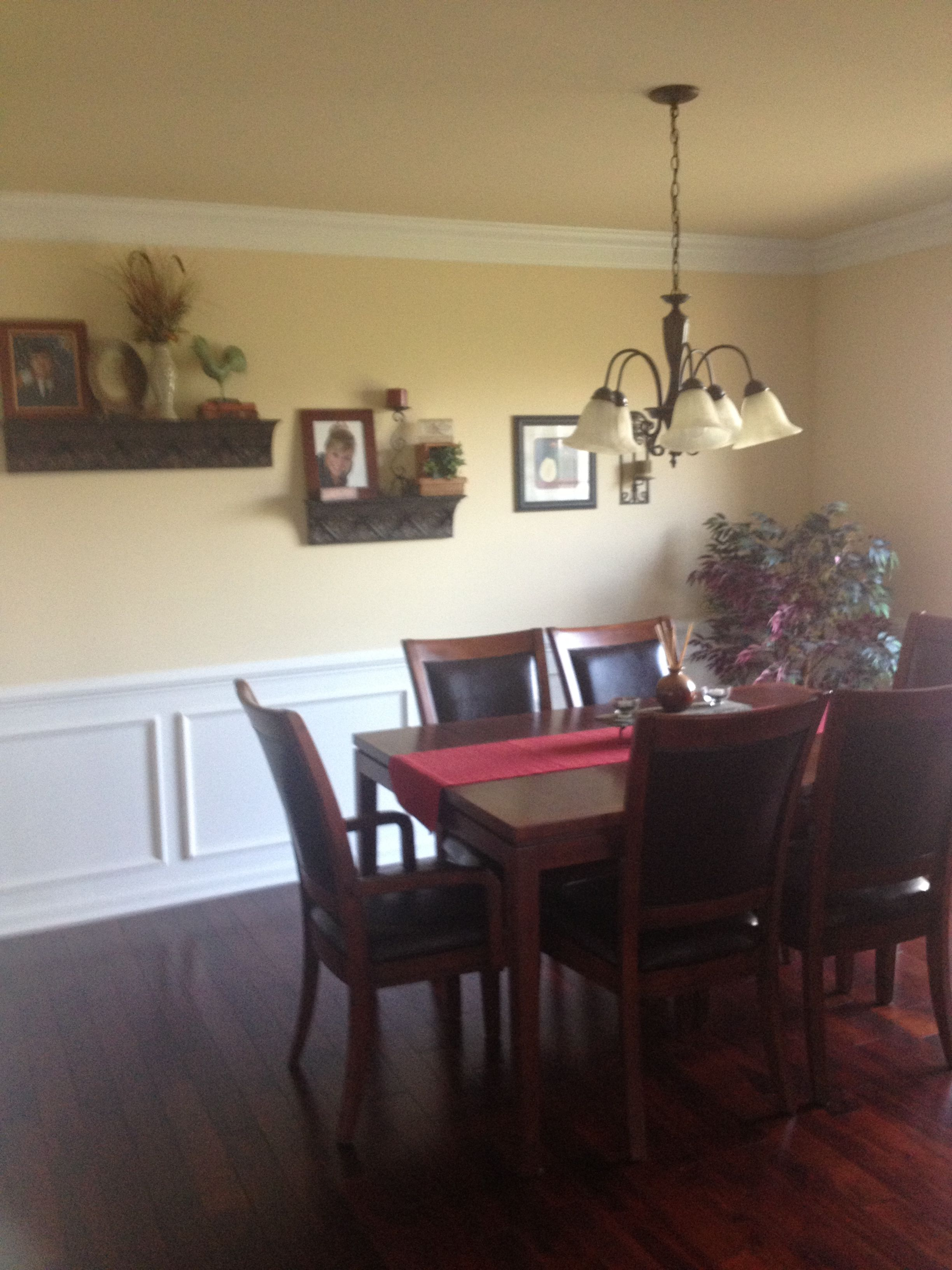 Dining room, paneled wall- love the wall color and paneling