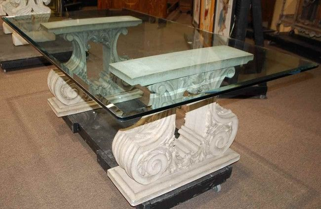 120: Cast Stone Base Glass Top Dining Table : Lot 120