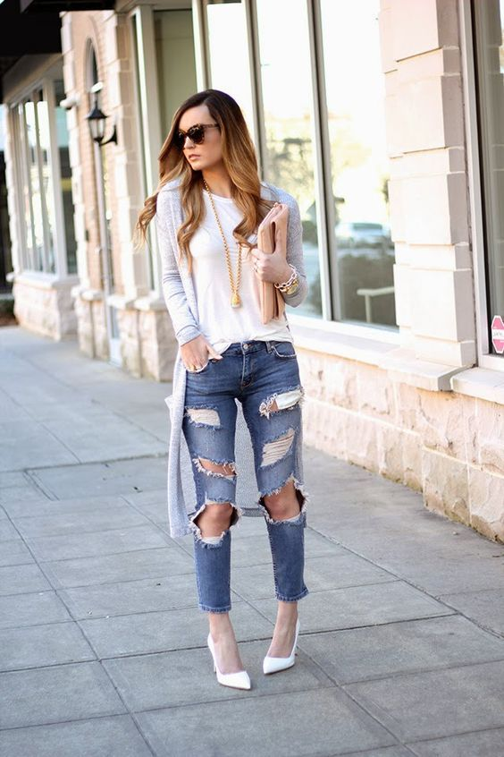 Outfits con jeans rotos de street style u00a1consigue una combinaciu00f3n de 10! | Girls and Fashion