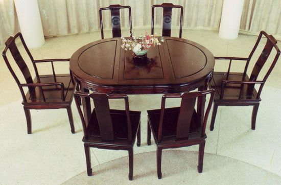 Carved Oval Oriental Dining Room Table Set | 50, Hong kong and ...