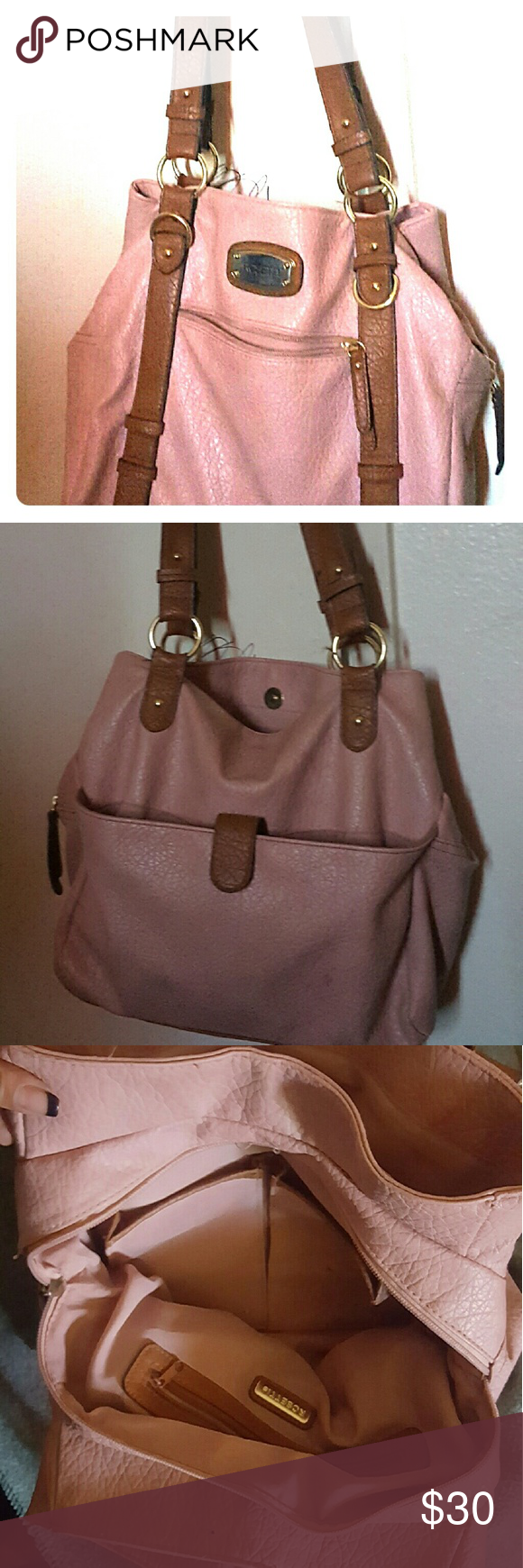 Pink and brown purse This pink and brown purse is very spacious. Its perfect  for running errands as well as having it in the office. You can dress it up or dress it down. Bags Shoulder Bags