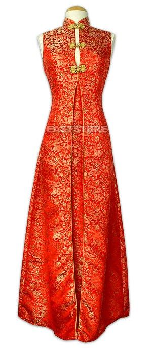 Attractive Chinese red. This wedding dress will bring happiness and luck to you. Dragon patterns add dignity to this chic design. Who can resist it?    Mandarin collar.  Frog button.  Sleeveless.  Gold piping.  Flared lap.  Dragon pattern.