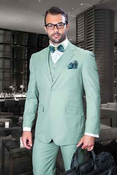 MensUSA - #Mensusa Products Men\'s 3 Piece Sage Notch Lapel Italian ...
