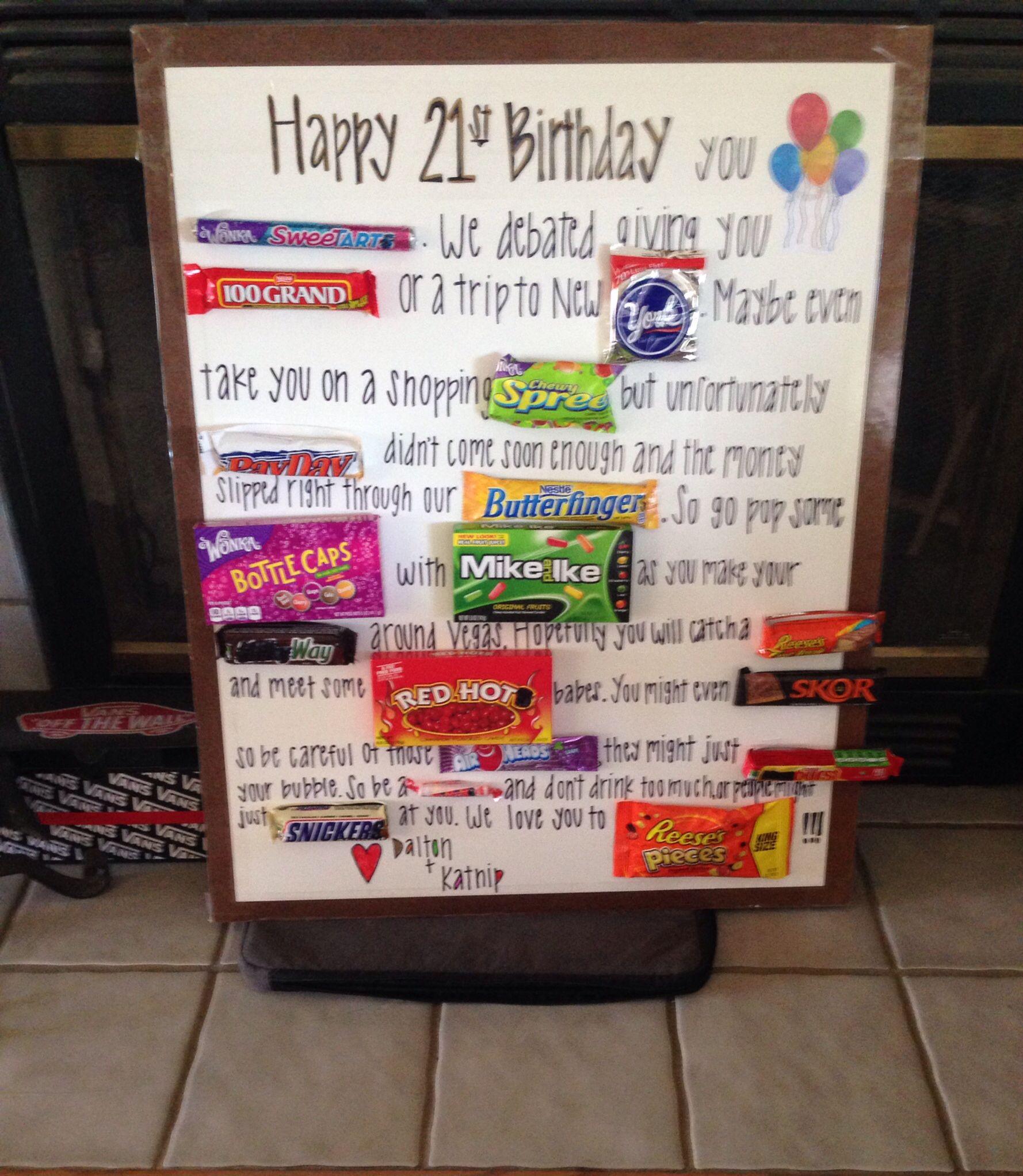 21st birthday candy card Hilarious Pinterest