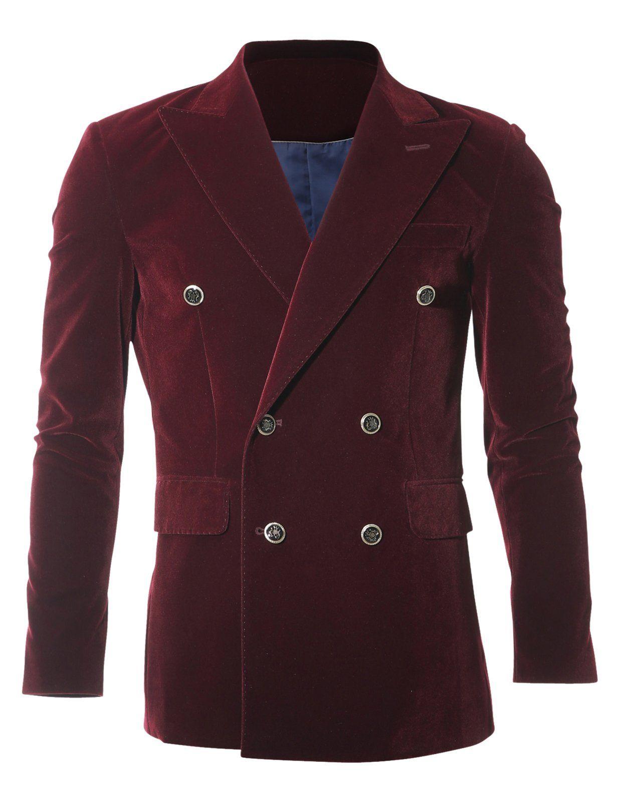 FLATSEVEN Mens Slim Fit Peaked Lapel Double Breasted Velvet Blazer Jacket (BJ488) Wine, XXL (US Large / 40~42)